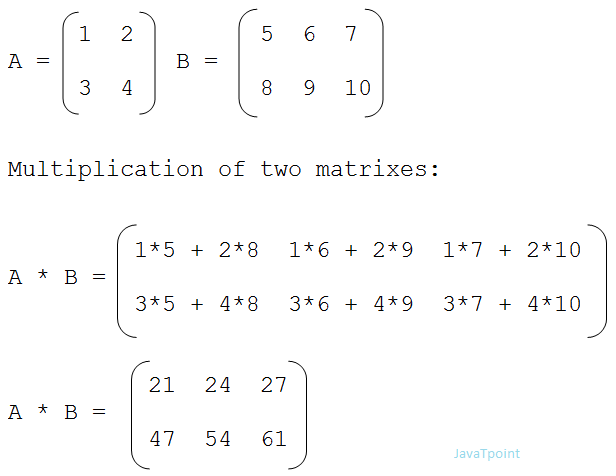 Matrix multiplication in c javatpoint for Table 2 matrix matlab