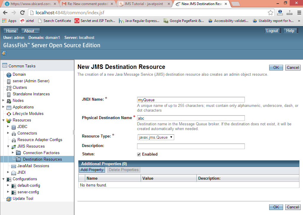 jms queue destination resource