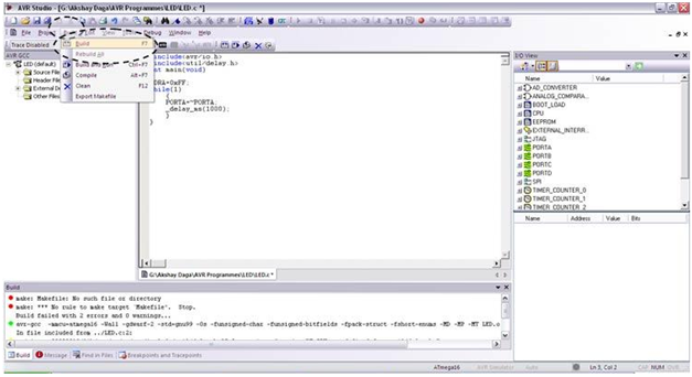Programming using AVR Studio10