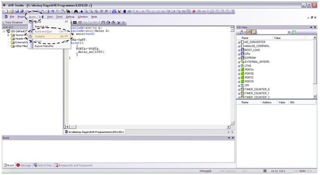 Programming using AVR Studio8