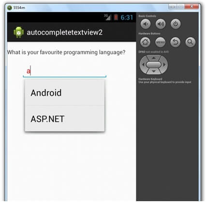 android autocompletetextview example output 1