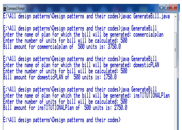 factory method desing pattern output