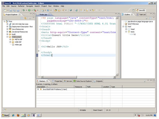 Writing a simple servlet in eclipse where is jndi