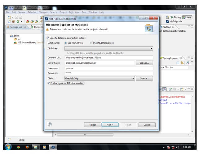 example to create hibernate application in MyEclipse IDE