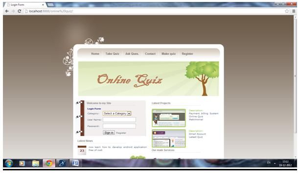 Online Quiz Project Jsp Projects Javatpoint