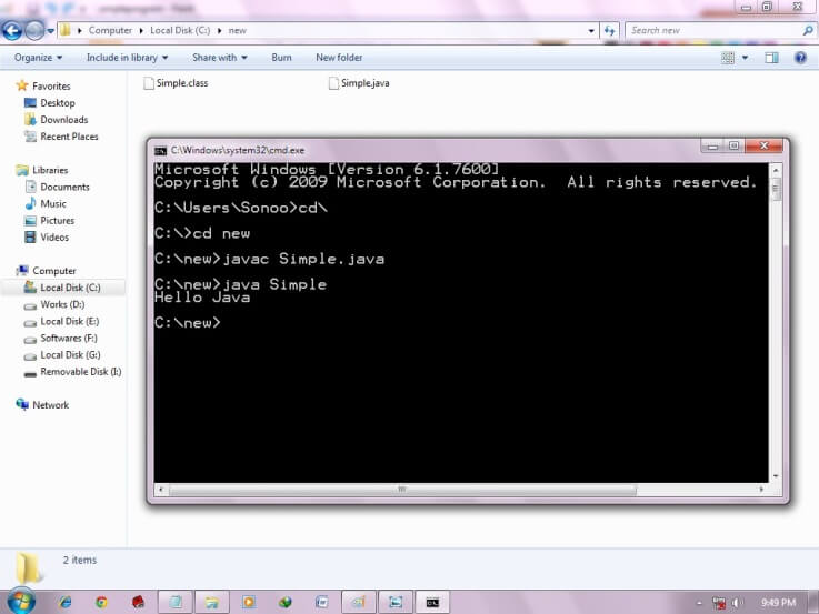 how to compile and run simple program of java