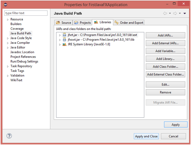 JavaFX with Eclipse Apply and Close