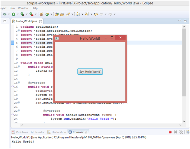JavaFX with Eclipse execute the class file Say Hello Button