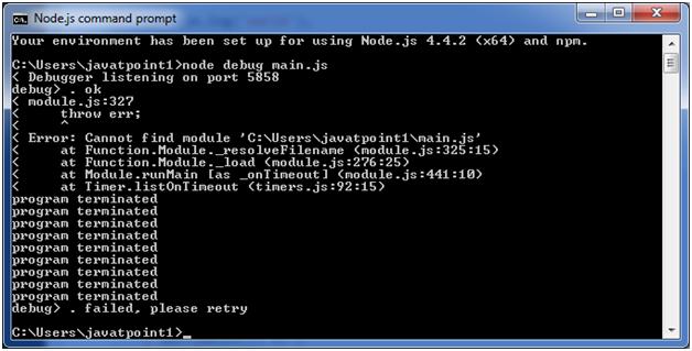 Node.js debugger example 2