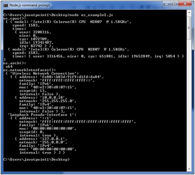 Node.js os example 2