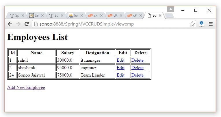 Spring Mvc Crud Example Javatpoint