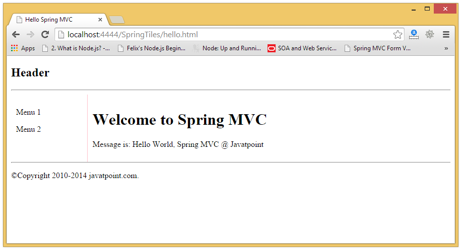 pdfbox template - spring mvc tiles example javatpoint