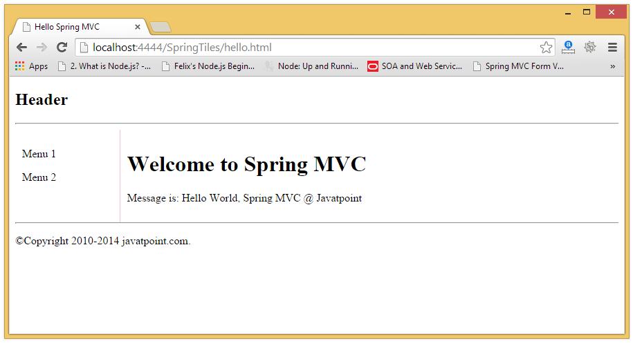 Spring MVC Tiles Example - javatpoint